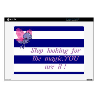 "Cute Bee,Blue White Stripes-Motivational message Decals For 15"" Laptops"