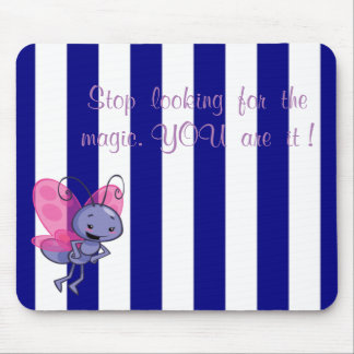 Cute Bee,Blue White Stripes-Motivational message Mouse Pad
