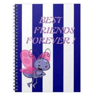 Cute Bee,Blue White Stripes-Motivational message Notebook