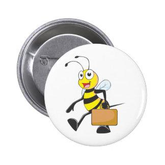 Cute Bee Cartoon Carry Attache Go to Work Office Pinback Button