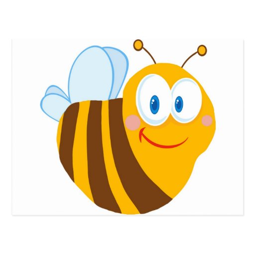Cute Bee Cartoon Character Post Cards
