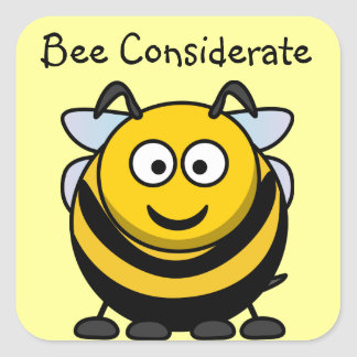 Cute Bee Considerate Yellow Book Name Plate Square Sticker