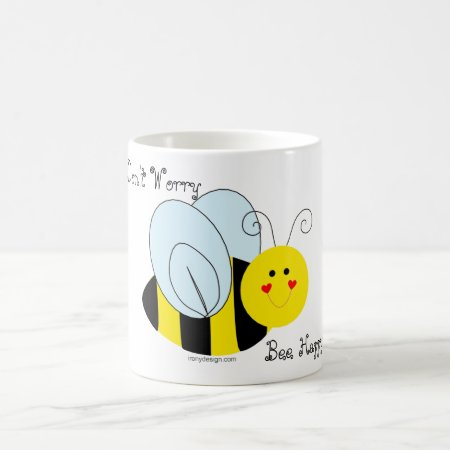 Cute Bee Don't Worry Bee Happy Coffee Mug