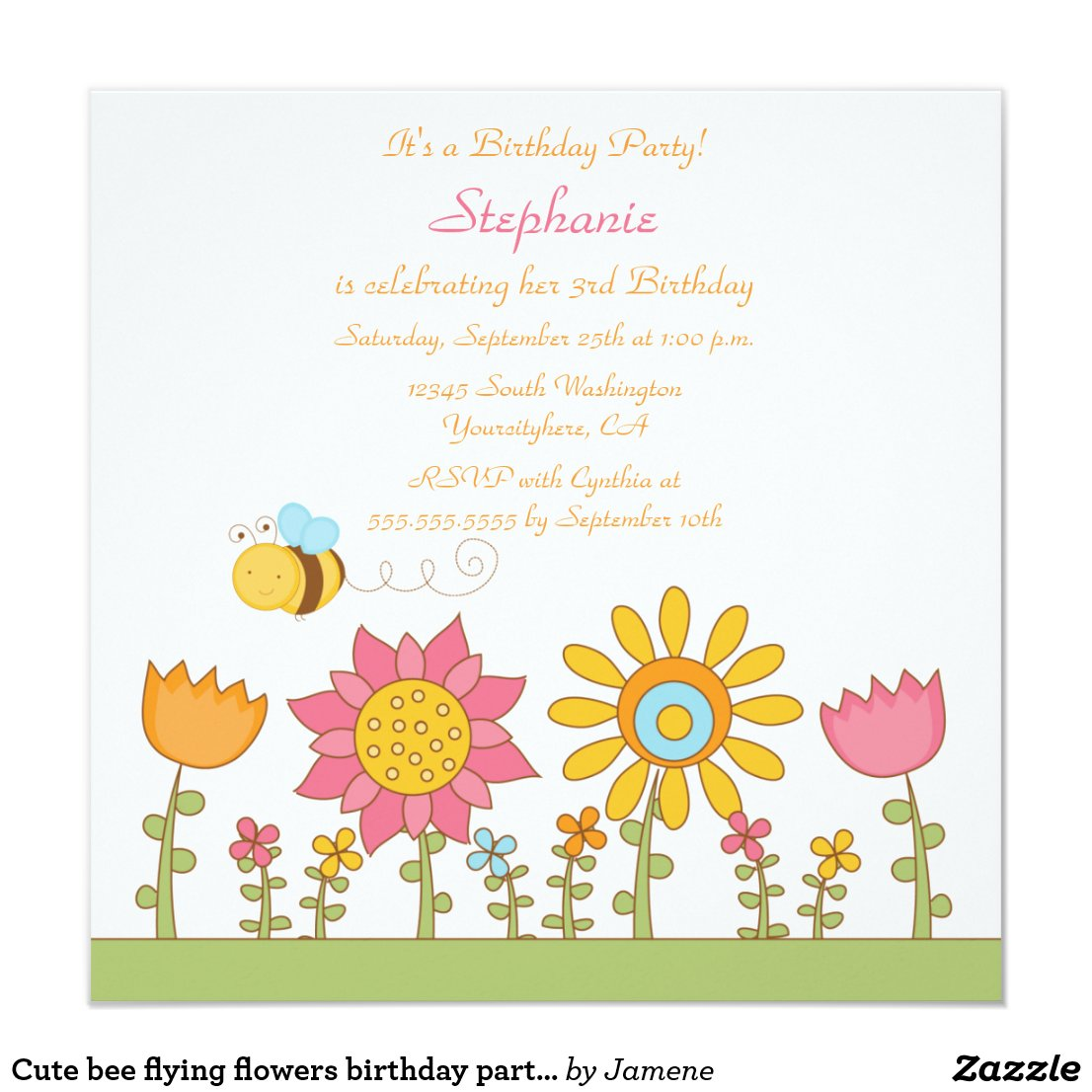 Cute bee flying flowers birthday party invitation
