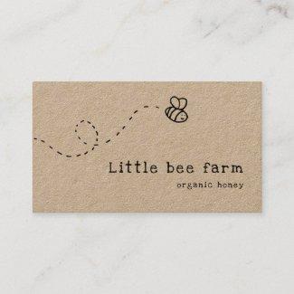 cute bee flying rustic kraft honey business card