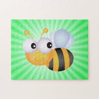 Cute Bee; Green Jigsaw Puzzle