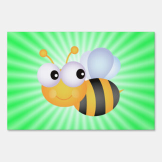 Cute Bee; Green Sign