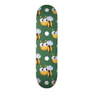 Cute Bee, Green & White Polka Dots Skateboards