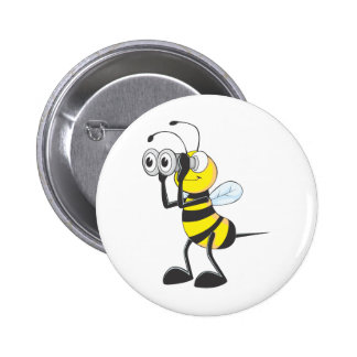 Cute Bee Holding Binoculars Looking at Something Pinback Button