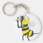 Cute Bee Holding Binoculars Looking at Something Key Chains