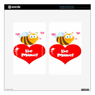 Cute Bee Holding Heart Saying be Mine Kindle Fire Decal