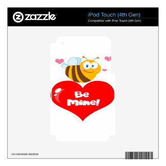 Cute Bee Holding Heart Saying be Mine Skin For iPod Touch 4G