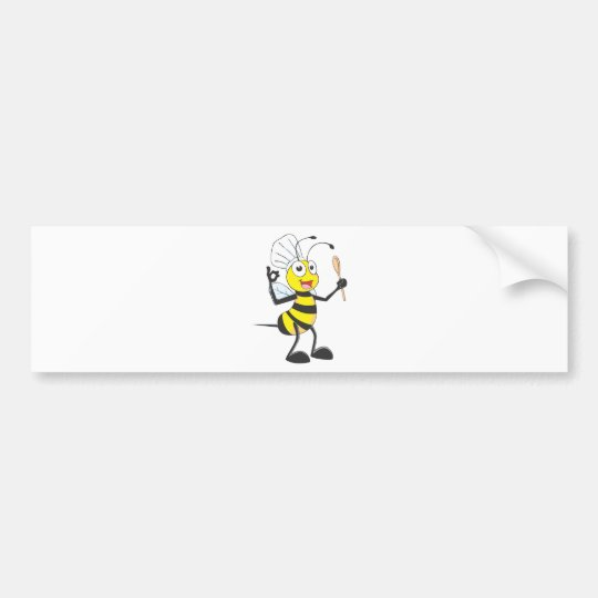 Cute Bee in Chef Outfit Delicious Bumper Sticker