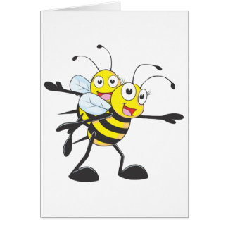 Cute Bee Mom Mum Playing with Daughter Greeting Card