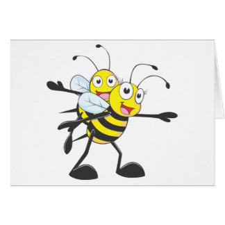Cute Bee Mom Mum Playing with Daughter Greeting Cards