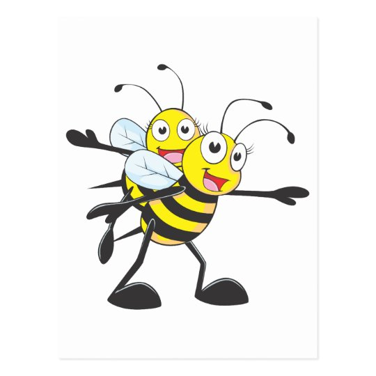 Cute Bee Mom Mum Playing with Daughter Postcard