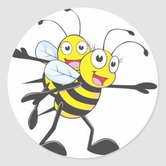 Cute Bee Mom Mum Playing with Daughter Round Sticker