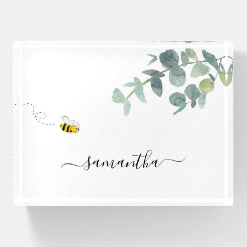 Cute bee monogram eucalyptus greenery white paperweight