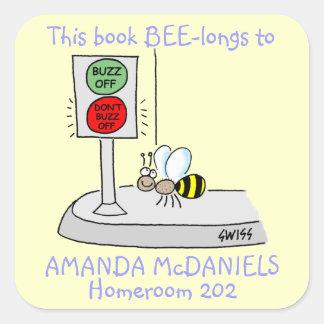 Cute Bee Name Sticker For School Books Sticker