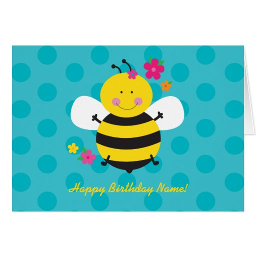 Cute Bee Personalized Birthday Greeting Card
