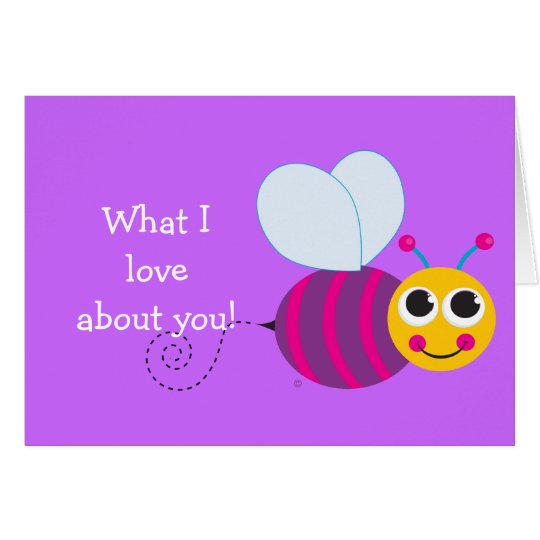 Cute Bee Personalized Child's Notecard