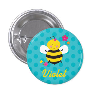 Cute Bee Personalized Pin/Button 1 Inch Round Button