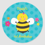 Cute Bee Personalized Sticker for gifts and favors