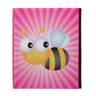 Cute Bee; Pink iPad Folio Cases