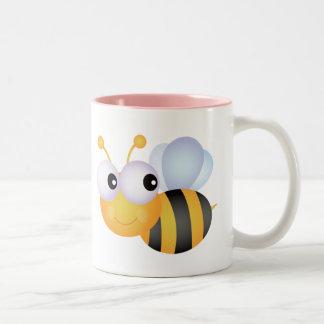 Cute Bee; Pink Two-Tone Coffee Mug