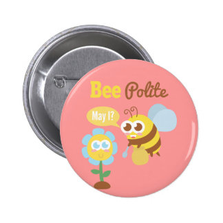 Cute Bee Polite To Flowers Button