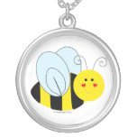 Cute Bee Round Pendant Necklace