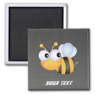 Cute Bee; Sleek 2 Inch Square Magnet