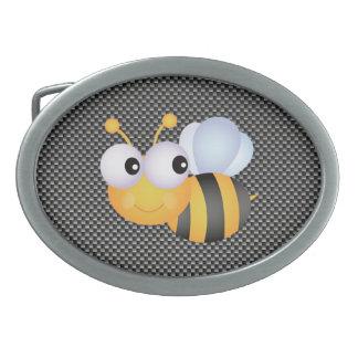 Cute Bee; Sleek Oval Belt Buckle