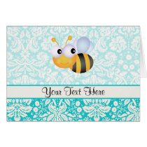 Cute Bee; Teal Damask Pattern Card