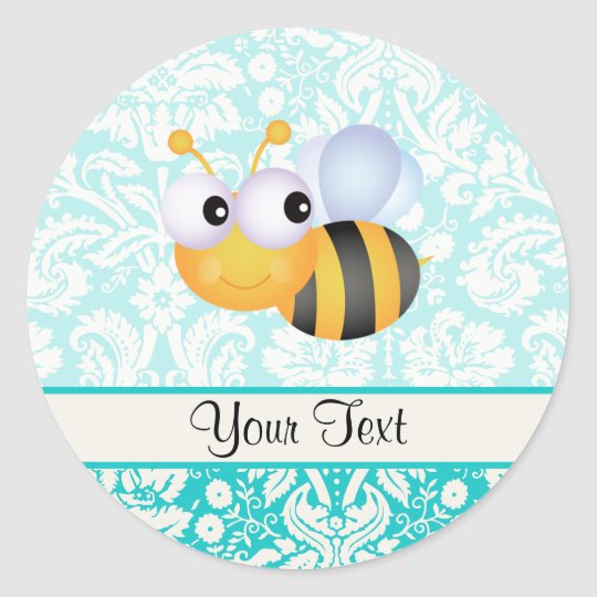 Cute Bee; Teal Damask Pattern Classic Round Sticker
