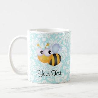 Cute Bee; Teal Damask Pattern Coffee Mug