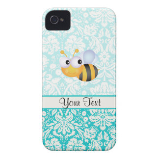 Cute Bee; Teal Damask Pattern iPhone 4 Case-Mate Case