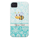 Cute Bee; Teal Damask Pattern iPhone 4 Cases