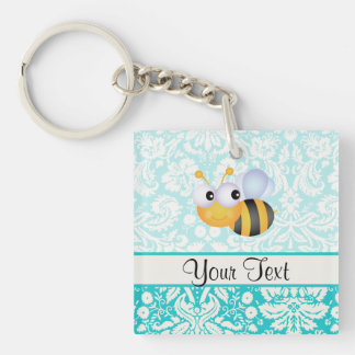 Cute Bee; Teal Damask Pattern Acrylic Key Chains