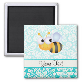 Cute Bee; Teal Damask Pattern Magnet