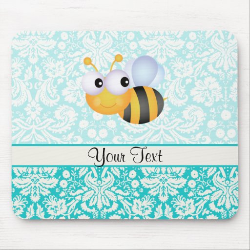 Cute Bee; Teal Damask Pattern Mouse Pads