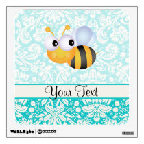 Cute Bee; Teal Damask Pattern Wall Decal
