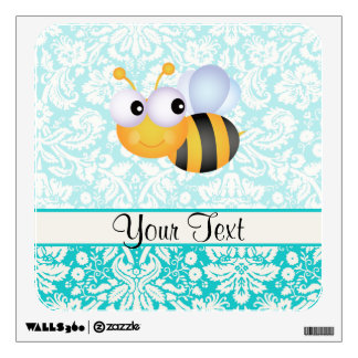 Cute Bee; Teal Damask Pattern Room Graphics