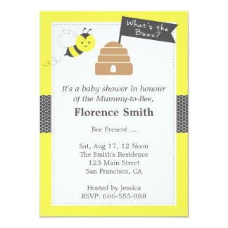 Cute Bee Theme Baby Shower In Yellow and Dark Grey 4.5x6.25 Paper Invitation Card
