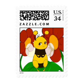 Cute Bee with flowers Stamps
