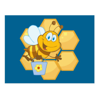 Cute Bee With Hive & Bucket Postcard