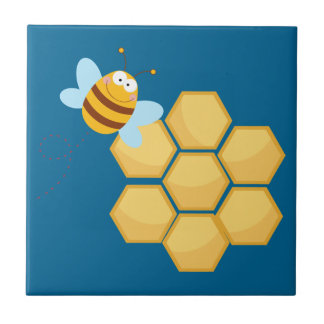 Cute Bee With Hive Tile