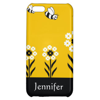 Cute Bees And Flowers - Custom Name iPhone 5C Cover