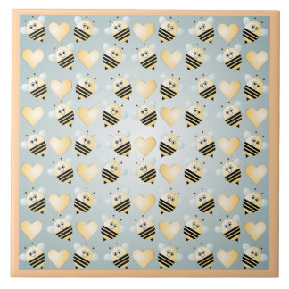 Cute Bees Honey Hearts Ceramic Tile