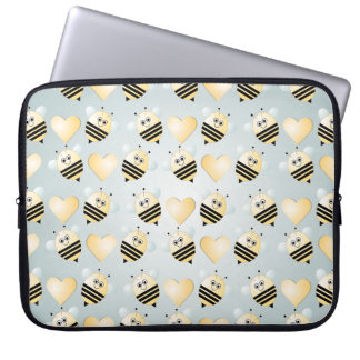 Cute Bees Honey Hearts Laptop Sleeve